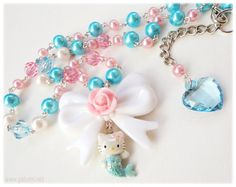 Hello Kitty Kawaii Mermaid beaded pearl necklace in by ykonna, $29.00