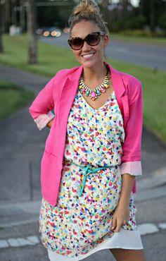pink blazer and floral dress