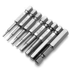 8pcs 50mm 1/4 Inch Hex Shank Magnetic Hex Head Screwdriver Bits