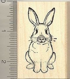 Sitting up Rabbit rubber stamp H696 wood mounted by Rubberhedgehog, $10.00