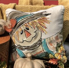 Bow Pillows, Fall Pillows, Sewing Pillows, Pumpkin Pillows, Handmade Pillow Covers, Handmade Pillows, Scarecrow Painting, Thanksgiving Decorations, Fall Decorations