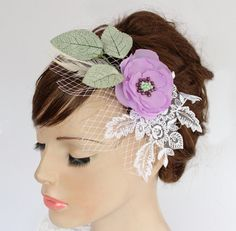 Lacy Floral Hair Fascinator with Birdcage Veil by MammaMiaBridal, $65.00