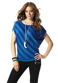 Laura Scott Rundhalsshirt im Ackermann Online Shop Laura Scott, Shirts, Blue, Sea, Shopping, Fashion, Moda, Fashion Styles, Ocean