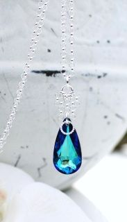 Swarovski Bermuda Blue teardrop pendant with Sterling Silver accents and chain