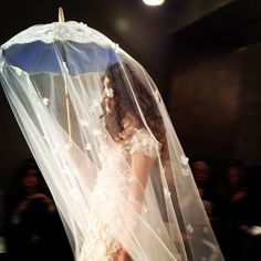 Veil onto umbrella