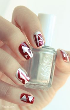 burgundy nails with silver designs (on tape)