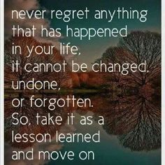 Take life's lesson, learn from them and move on.