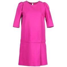 Rochas Short Dress ($700) ❤ liked on Polyvore featuring dresses, fuchsia, short sleeve mini dress, short sleeve dress, trapeze dress, pink swing dress and fuschia dress