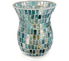 Lightscapes Swirled Mosaic Hurricane w/SwirlFlameless Candl Beautiful Lights, Qvc, Mosaic, Room Decor, Vase, Candles, Girls, Pattern, Products