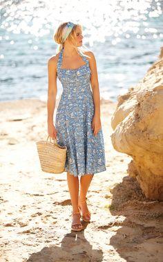Beach Scene Halterneck Dress from Laura Ashley