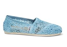 Toms Blue Crochet Dame Classics shoes
