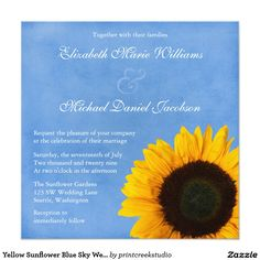 Yellow Sunflower Blue Sky Wedding
