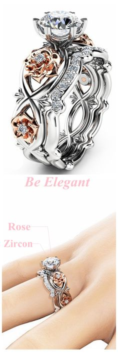 [Newchic Online Shopping] 50%OFF Women Rose Gold Flower Heart Ring