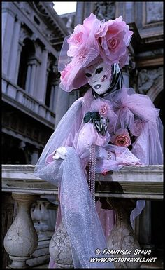 Photograph of Beauty in pink  Ornamental Carnival costume, Venice, Italy photo