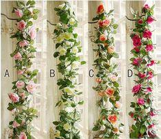 Rose Garland, Leaf Garland, Flower Garlands, Greenery Garland, Floral Garland, Hanging Flowers, Fake Flowers, Artificial Flowers, Arch Flowers
