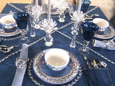 Denim & Diamonds Table Decor: 1. Strings of diamonds across table  2. Cut crystal candle sticks of various heights  3. Diamond Ring Napkin Holder/Party Favors