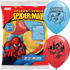 Spider-Man Latex Balloons 6ct   Wally's Party Supply Store