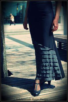 Flamenco belly dance skirt stretchy mermaid cut with Grey stripe ruffle front by ScheherazadeBanoo, $75.00