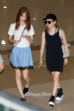 snsd yoona and sunny casual and cute airport fashion