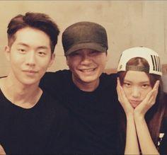 Yang Hyun Suk se toma una foto junto a Nam Joo Hyuk y Lee Sung Kyung Nam Joo Hyuk Lee Sung Kyung, Jong Hyuk, Lee Jong Suk, Swag Couples, Kpop Couples, Yg Entertainment, Kim Bok Joo Fanart, Weightlifting Kim Bok Joo, Weightlifting Fairy