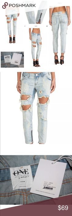 "$138 ONE TEASPOON FREE PEOPLE TRASHED FREEBIRDS 29 **CELEB FAVE**-- ONE TEASPOON TRASHED FREEBIRDS IN DIRT   RETAIL $138--SOLD OUT  Brand new with tags, Label and tag are marked  Details:  A dirtied wash and raw-edge holes lend a work-worn look to distressed One Teaspoon jeans. The slouchy pair is detailed with exposed ankle zips.   5 pocket styling.  Single-button closure and zip fly.  Fabric: Denim.  100% cotton.   Size 29 measurements: waist flat across 17"", front rise 8"", hips flat…"