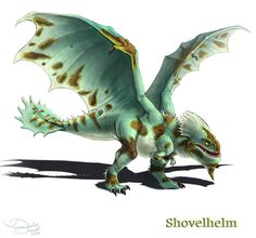 Shovelhelm by Voltaic-Soda on DeviantArt Httyd Dragons, Cool Dragons, Dreamworks Dragons, How To Train Dragon, How To Train Your, Fantasy Dragon, Dragon Art, Fantasy Creatures, Mythical Creatures