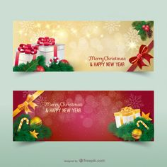 red and gold Christmas banners