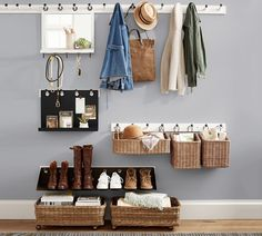 Find home storage solutions for all rooms including entryway, kitchen, and closet at Pottery Barn. Discover organization and storage ideas by the type of room. Vestibule, Pottery Barn, Pottery Bowls, Laundry Solutions, Storage Solutions, Storage Systems, Entryway Organization, Organization Ideas, Bathroom Product Organization