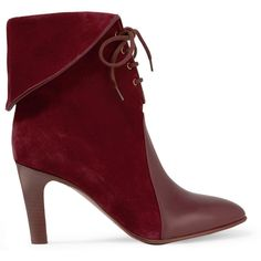 Chloé Leather-paneled suede ankle boots, Women's, Size: 36 (£655) ❤ liked on Polyvore featuring shoes, boots, ankle booties, burgundy, fold over ankle boots, ankle boots, bootie boots, burgundy booties and cuff ankle boots