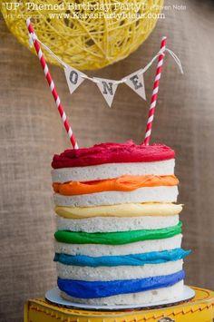 """Rainbow """"UP"""" themed birthday party cake! Via Kara's Party Ideas   KarasPartyIdeas.com #rainbow #cake #up #party #ideas #rainbow #idea"""