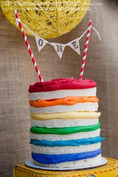 "Disney's ""Up"" Rainbow Balloon Boy Girl Birthday Party Planning Ideas http://www.karaspartyideas.com/2013/04/disneys-up-themed-1st-birthday-party.html"