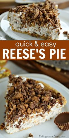 This Reeses Pie Recipe is the perfect no bake dessert. Reese's peanut butter pie recipe is delicious. Try Reese's peanut butter cup pie for an easy dessert. # no bake Desserts Reeses Pie Recipe - Easy Reese's Peanut Butter Pie Recipe Quick Dessert Recipes, Easy Pie Recipes, No Bake Desserts, Baking Recipes, Baking Desserts, Baking Cakes, Bread Baking, Dessert Healthy, Easy Delicious Desserts