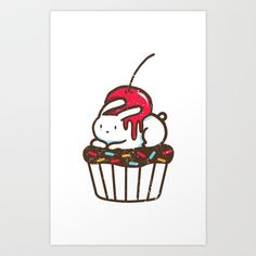 (SO CUTE!!) Chubby Bunny on a cupcake Art Print by Budi Satria Kwan