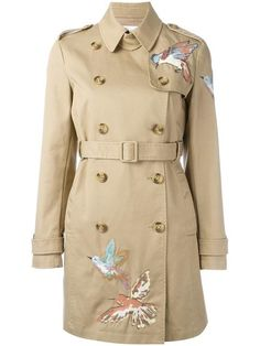 Red Valentino bird embroidery trench coat - Women Trench Coats - Ideas of Women Trench Coats Designer Raincoats, Designer Trench Coats, Embroidery Suits Design, Bird Embroidery, Bird Clothing, Red Valentino, Brown Trench Coat, Clothes, Outfit