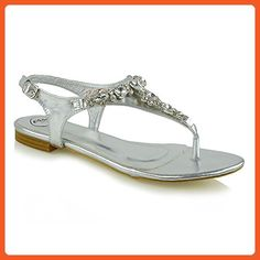 ef1f19f1f Essex Glam Women s Flat Toe Post Diamante Gem Silver Metallic Holiday  Sandals 10 B(M
