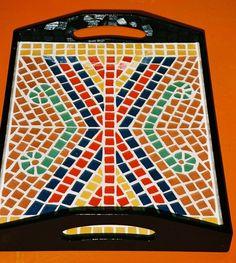Mosaic tray. Geometric pattern.