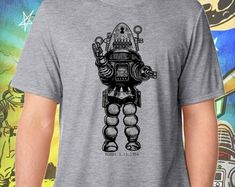 Forbidden Planet / Robby the Robot in Black / Men's Gray Performance T-Shirt Robby The Robot, Sublime Shirt, Black Men, Planets, Gray, Street Wear, Mens Tops, Shirts, Clothing