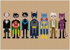 Pixel People - Batman & Friends - PDF Cross-stitch Pattern. $6,00, via Etsy.