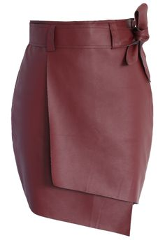Bowknot Faux Leather Flap Skirt in Wine