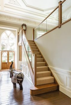Contact these guys for a quote. Dark Oak and Inline Glass Staircase – Neville Johnson Staircase Banister Ideas, Banisters, Stair Railing, Staircase Design, Staircase Remodel, Oak Stairs, Glass Stairs, House Stairs, Staircase Contemporary