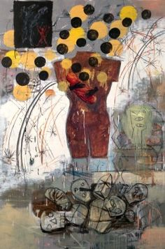 Jaune Quick-to-See Smith   Shock and Awe  Oil and Acrylic on canvas  72 x 48 inches