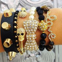 Black, Gold, Pearls, Sparkle