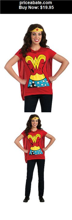 Women-Costumes: Sexy Red Wonderwoman T-shirt & Cape Adult Womens Halloween Costume S-XL - BUY IT NOW ONLY $19.95