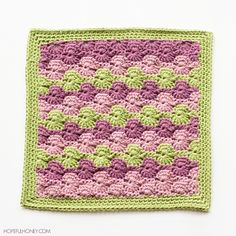 "Meadow Afghan 12"" Square ~ free pattern"