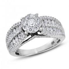 NK Mosaic Diamond Collection, 14K White Gold I1-I2 Round Diamond Engagement Ring, 1 1/2 ctw