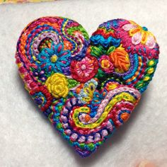Freeform embroidery heart brooch #94 by Lucismiles on Etsy ...Sold...