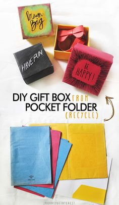 Have some pocket folder you don't use anymore? Don't throw it, make some these little box for your accessories or a little gift box :)