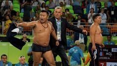 Mongolian wrestling coaches go nuts after decision:  August 21, 2016