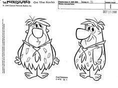 "Fred model sheet from 2001 Flintstones special ""The Flintstones on the Rocks"""