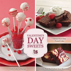Valentine's Day Sweets Recipe | Cutie Cake Lollipops | Classy Chocolate Pound Cake | Gluten-Free Red Velvet Swirl Brownies